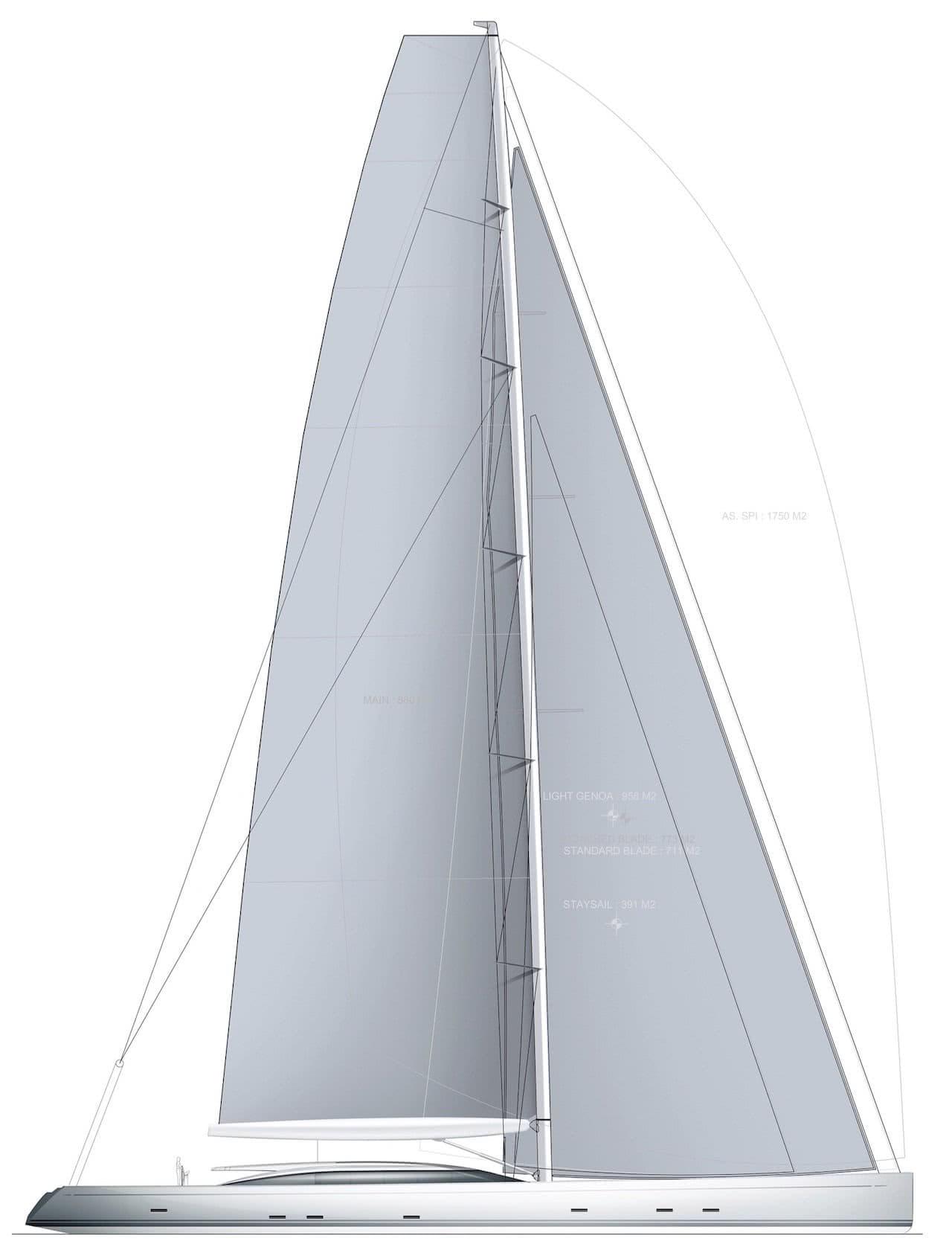 Sail Plan 55m Sloop Philippe Briand