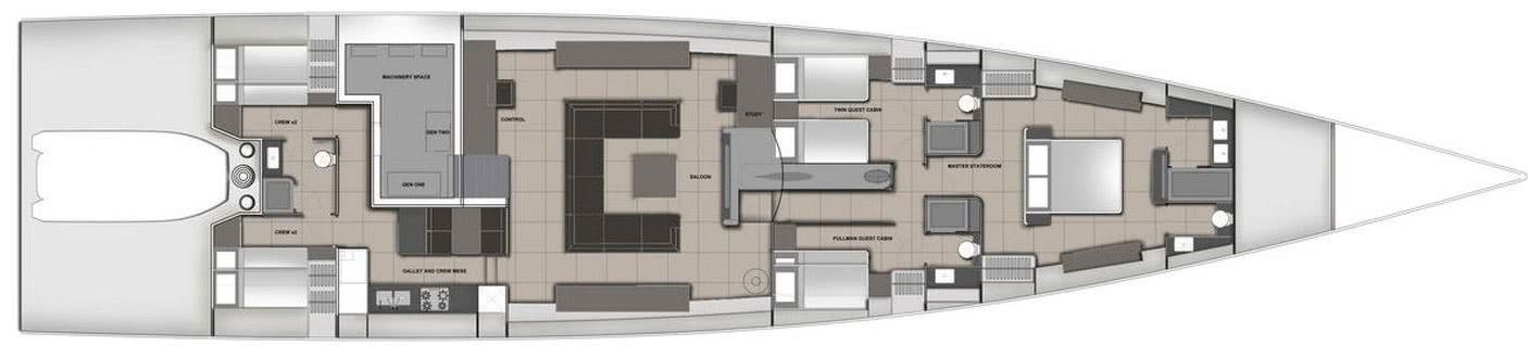 Infinity 105 Sailing Yacht with DSS Foil Layout