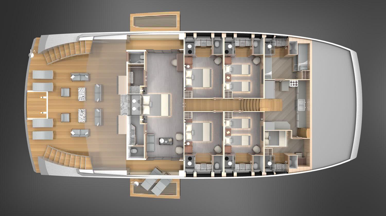 OASIS Catamaran Yacht Lazzara Ombres Architects Layout