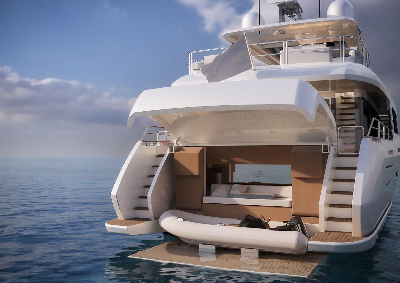 Sirena 88 Motor Yacht Tender Garage