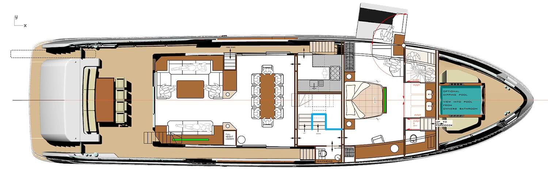 Sirena 88 Motor Yacht Layout