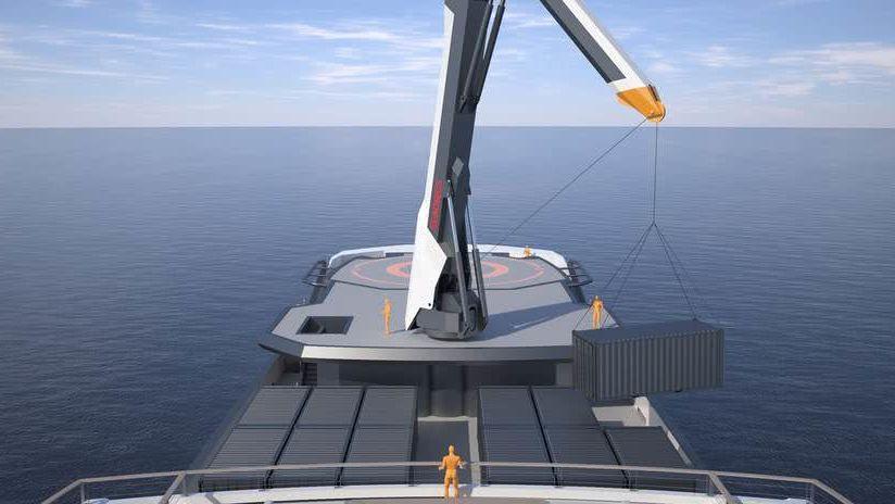 REV Ocean research yacht crane