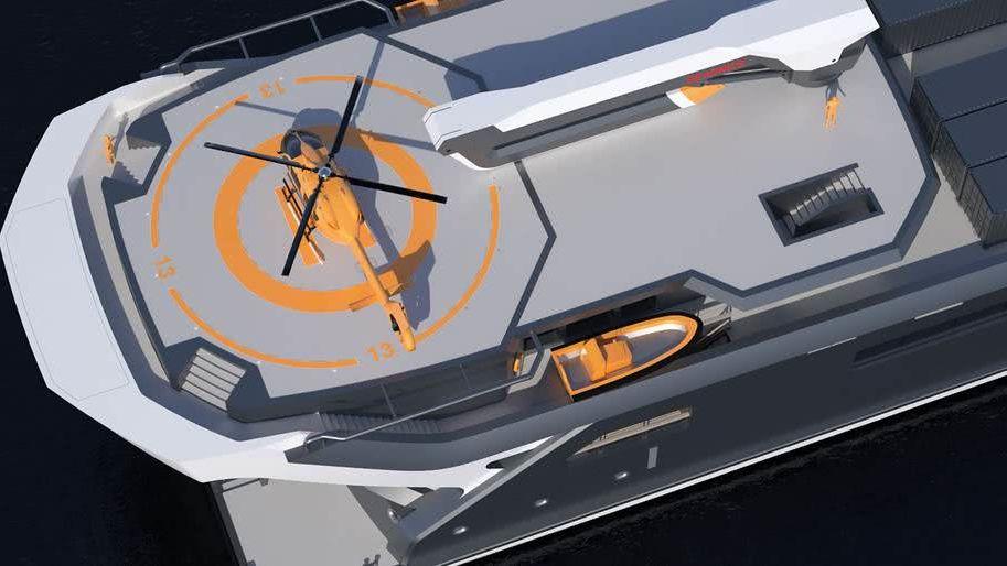REV Ocean research yacht helipad