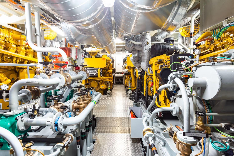 Power Play Damen Yacht Support Vessel Engine Room