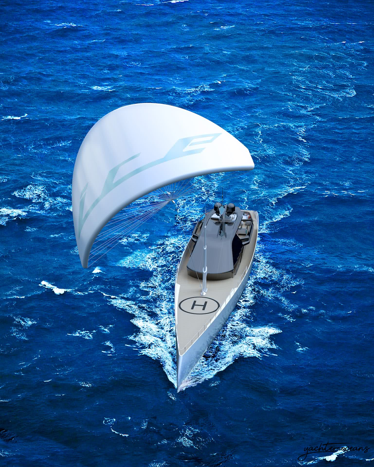 Ice Kite Yacht With Kite Propulsion And Support Vessel