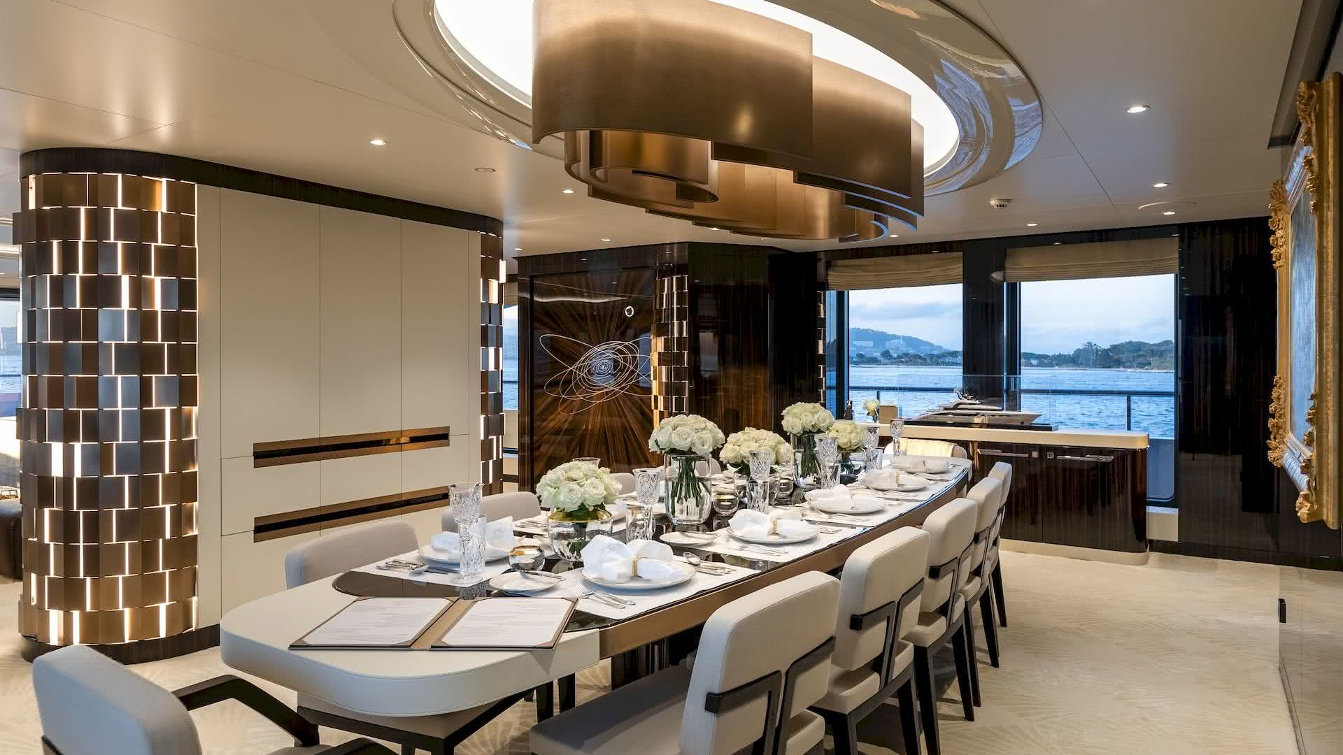 Soaring Yacht Interior Dining