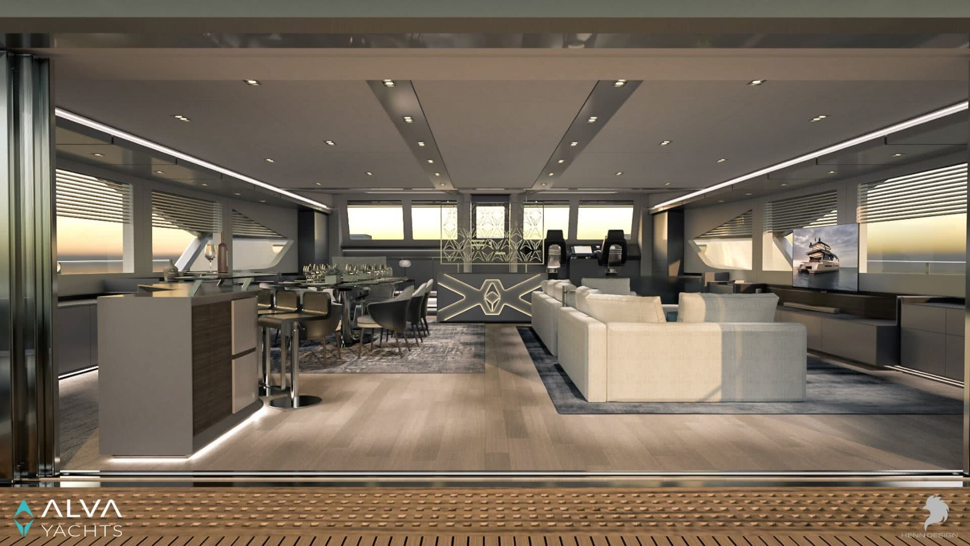 Ocean Eco 90 Electric Yacht Interior Salon