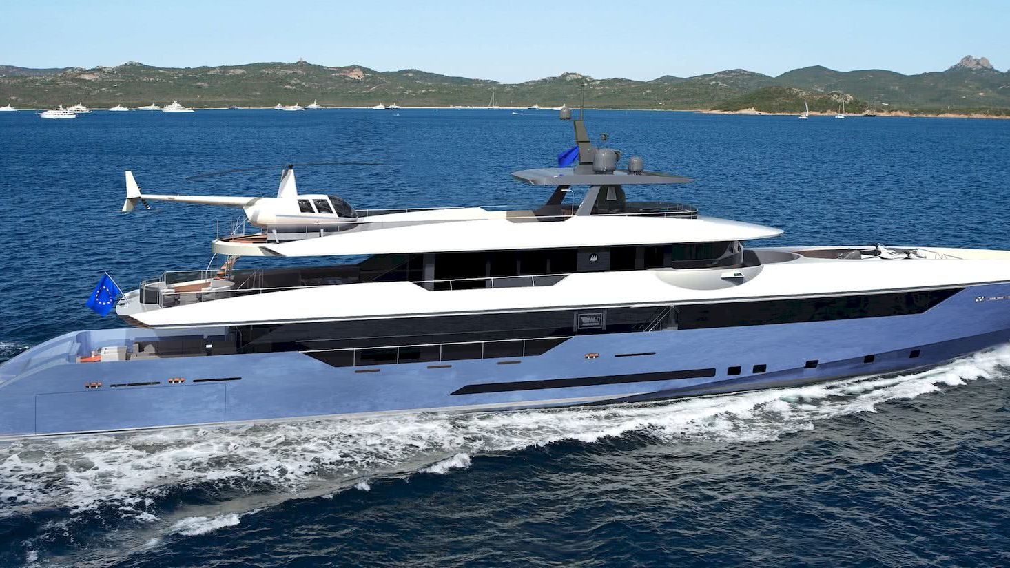 50m Motor Yacht MP Design helicopter